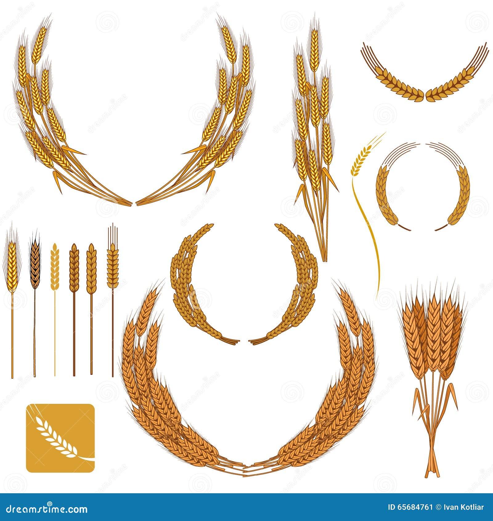Bakery Logo Emblem Set:  Set Of Wheat Wreath And Design Elements. Stock Vector
