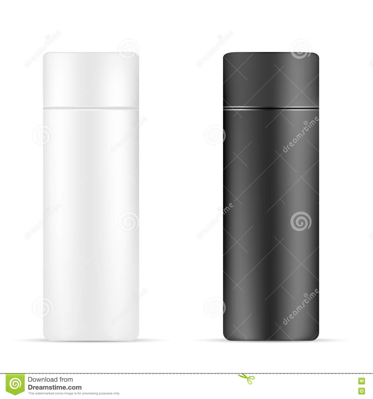 Set of White and black beauty/cosmetic product bottle on isolated white background.