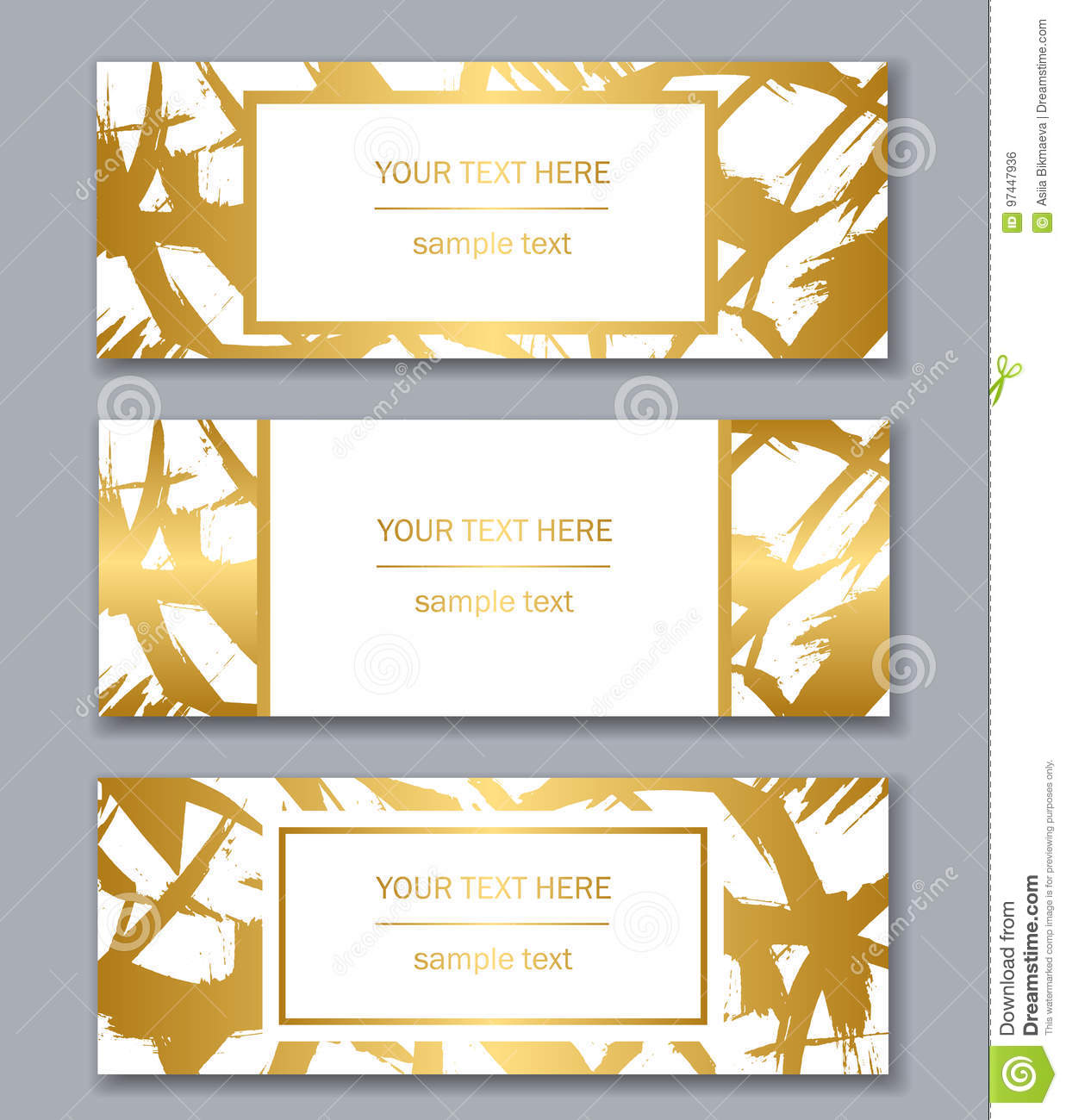 Set Of White Black And Gold Banners Templates Modern Abstract