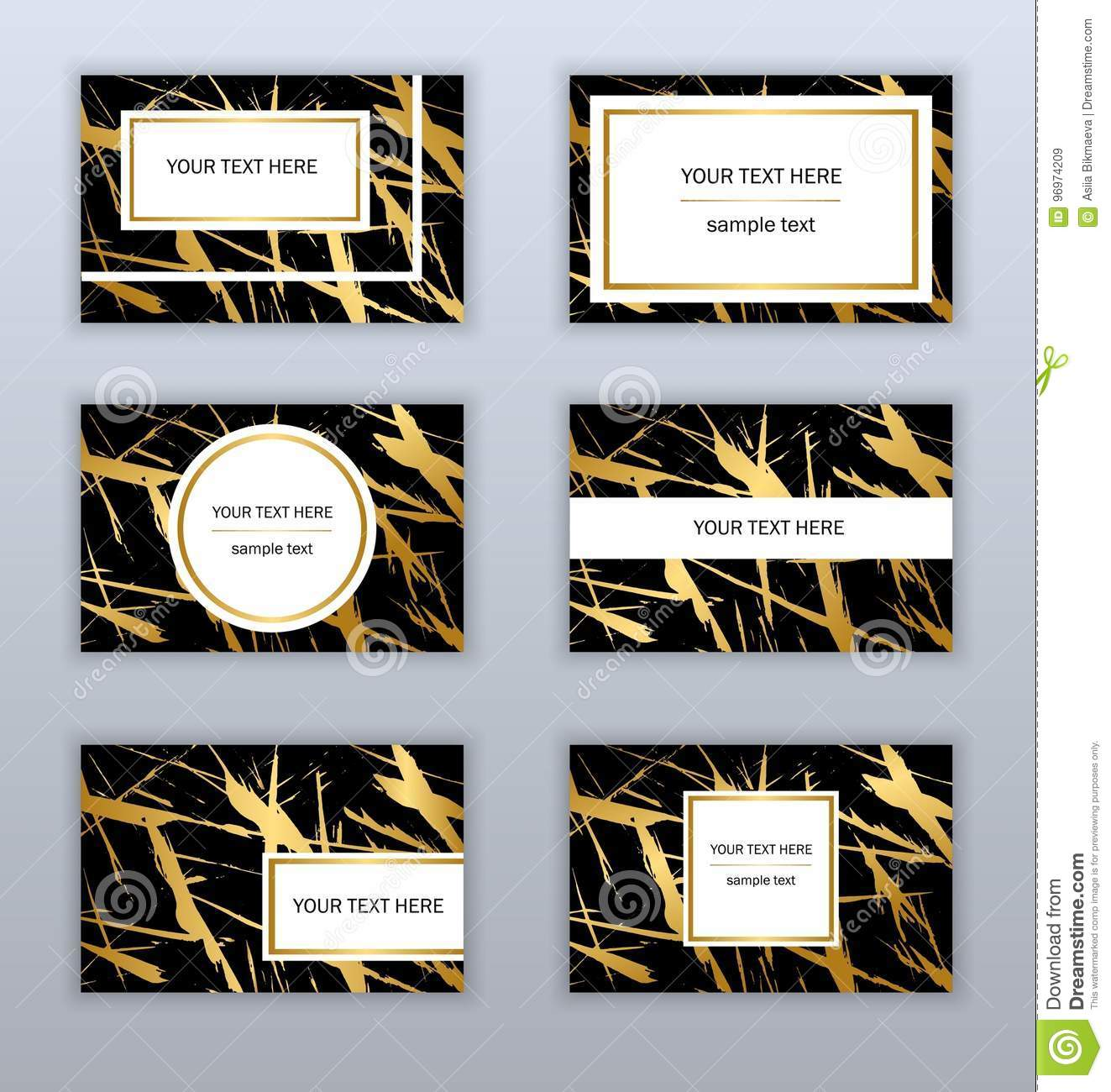Set Of White Black And Gold Business Cards Templates Modern Stock