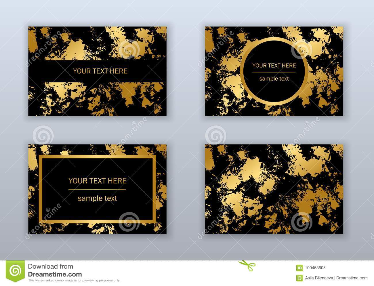 Set Of Modern White Black And Gold Business Cards Templates Stock Vector Illustration Of Glitter Card 100468605