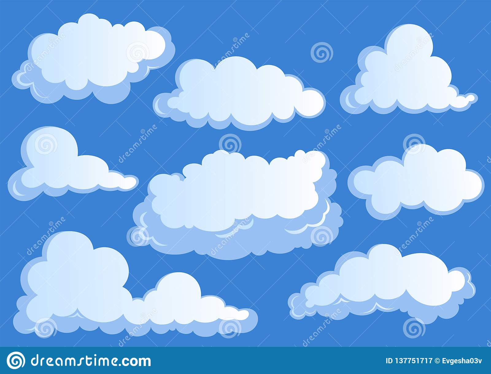 Set of white clouds, cloud icons on blue background