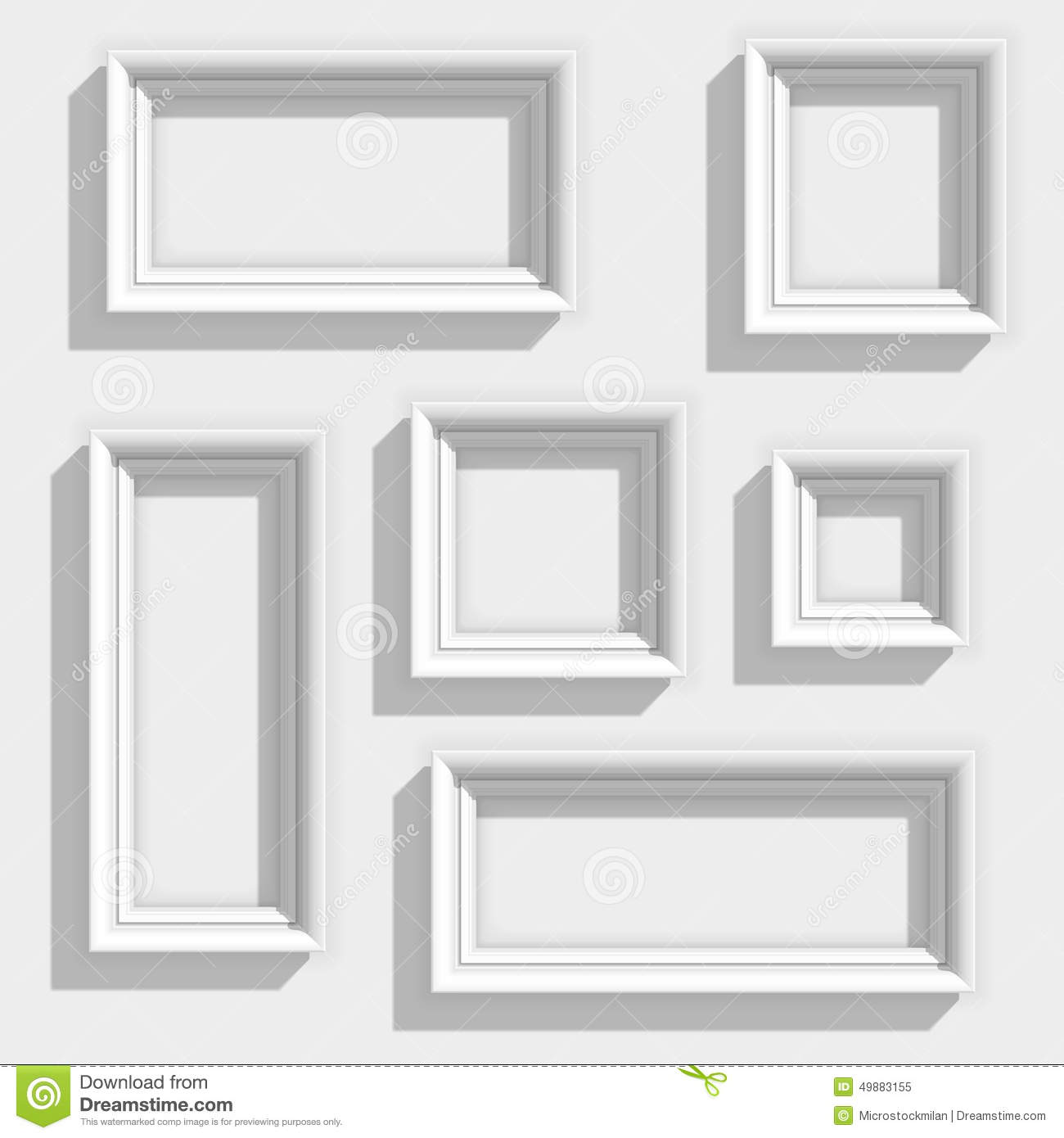 set of white frame on a wall with realistic - White Picture Frame Set