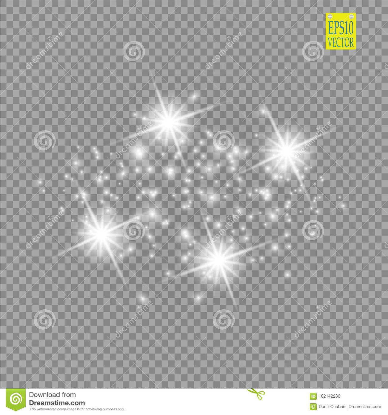 Set of white glowing lights effects isolated on transparent background. Sun flash with rays and spotlight. Glow light