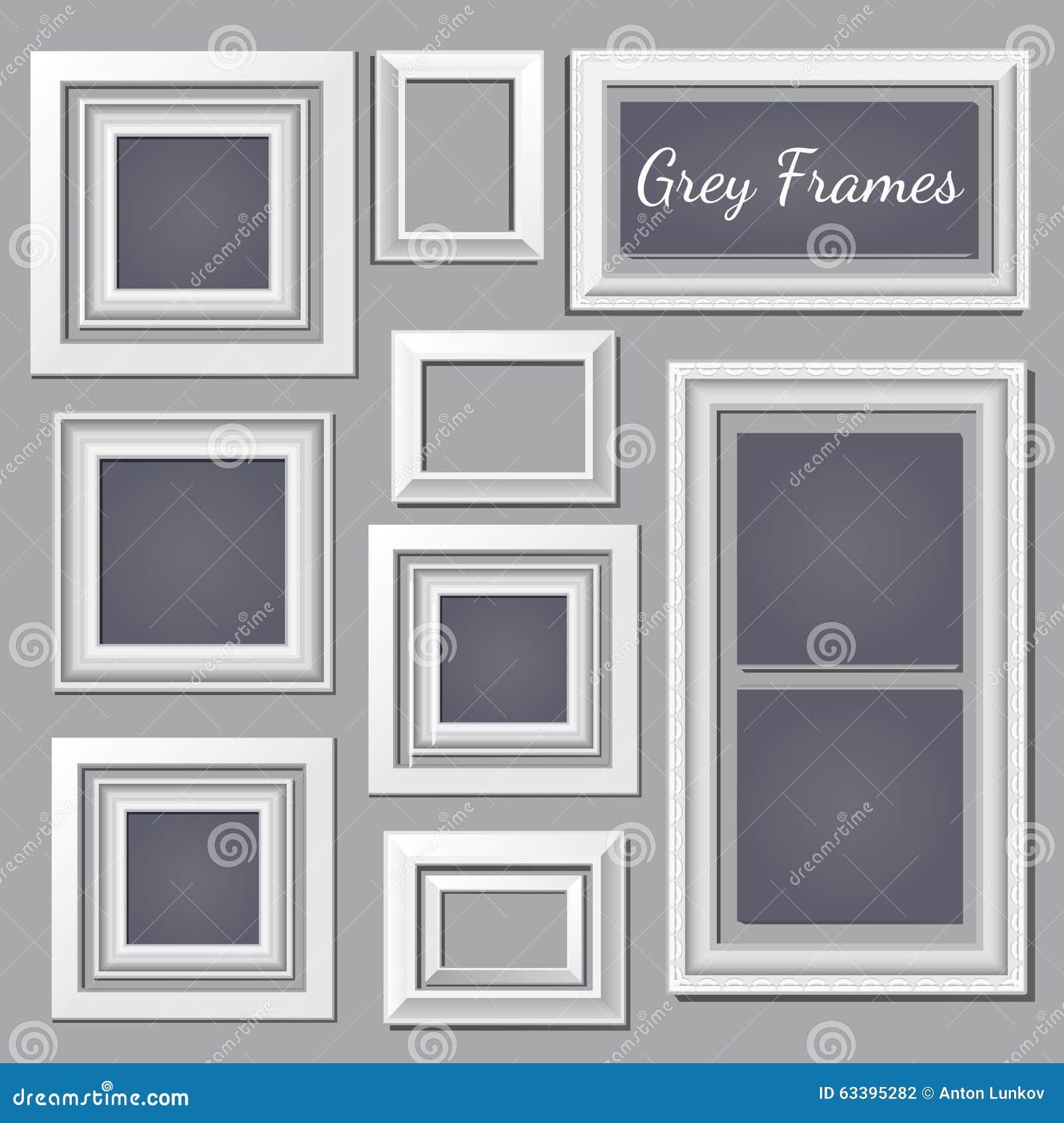 set of white and grey frames for your design needs stock. Black Bedroom Furniture Sets. Home Design Ideas