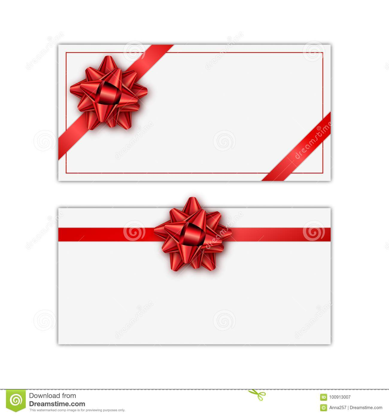 Set Of White Holiday Gift Card With Red Ribbon And Bow Template For A Business