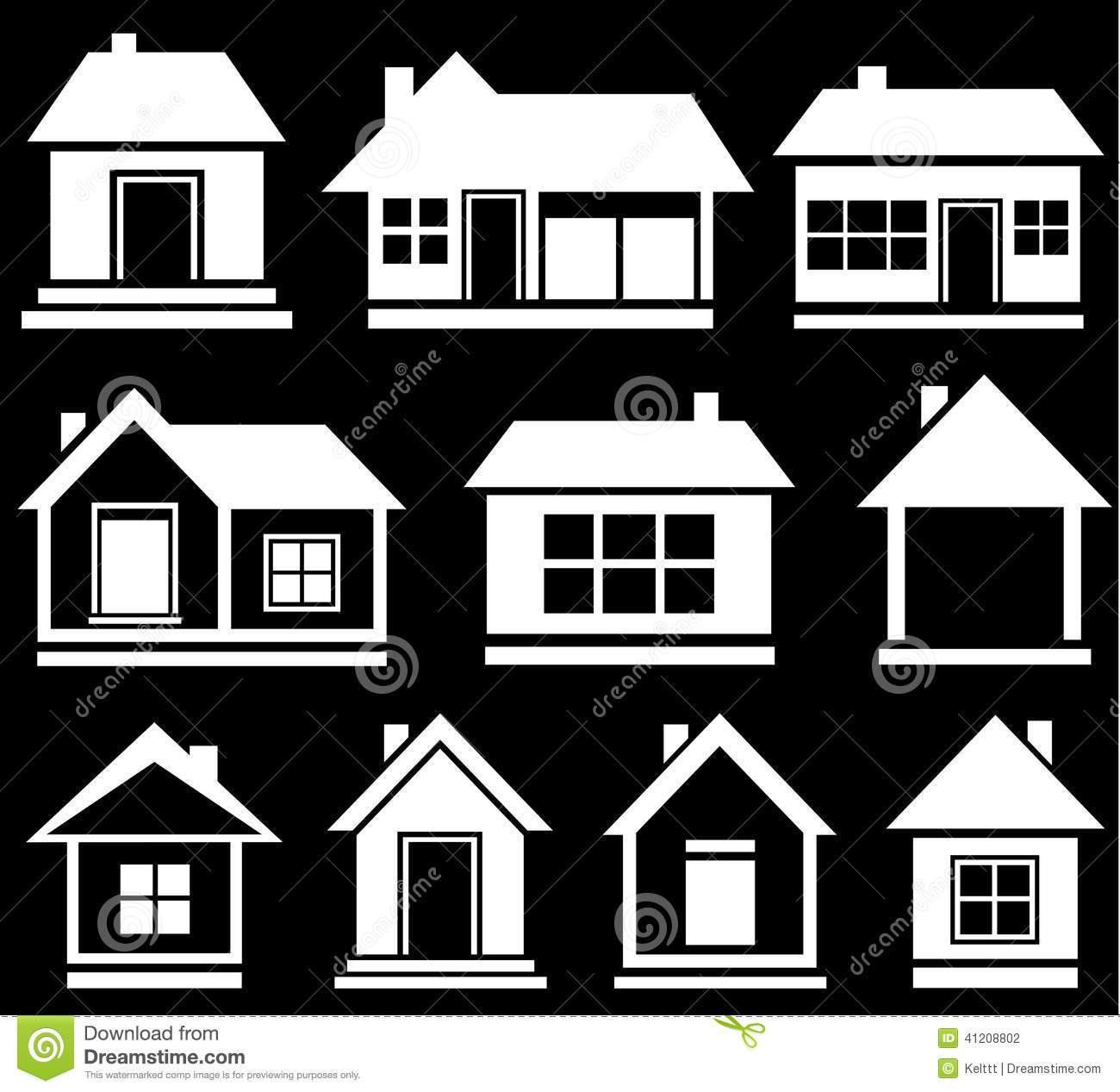 Modern house silhouette variety of modern black icon silhouette set