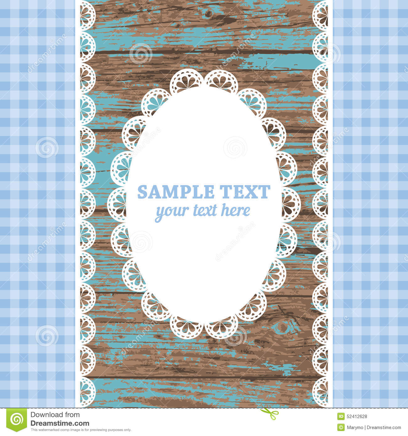 Wood frames set free vector - Set Of White Lace Frame Doily And Ribbons On A Blue Wooden Background Stock Vector