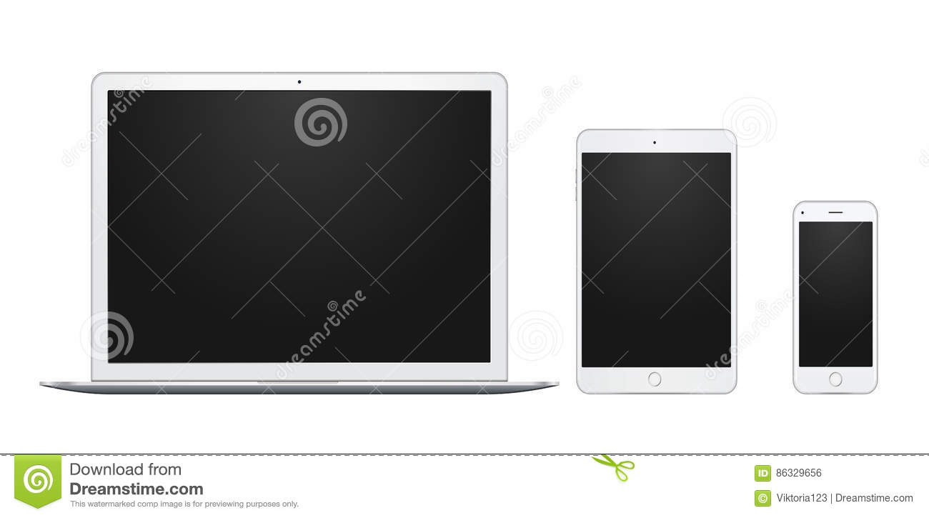set of white laptop tablet and phone all single and isolated with