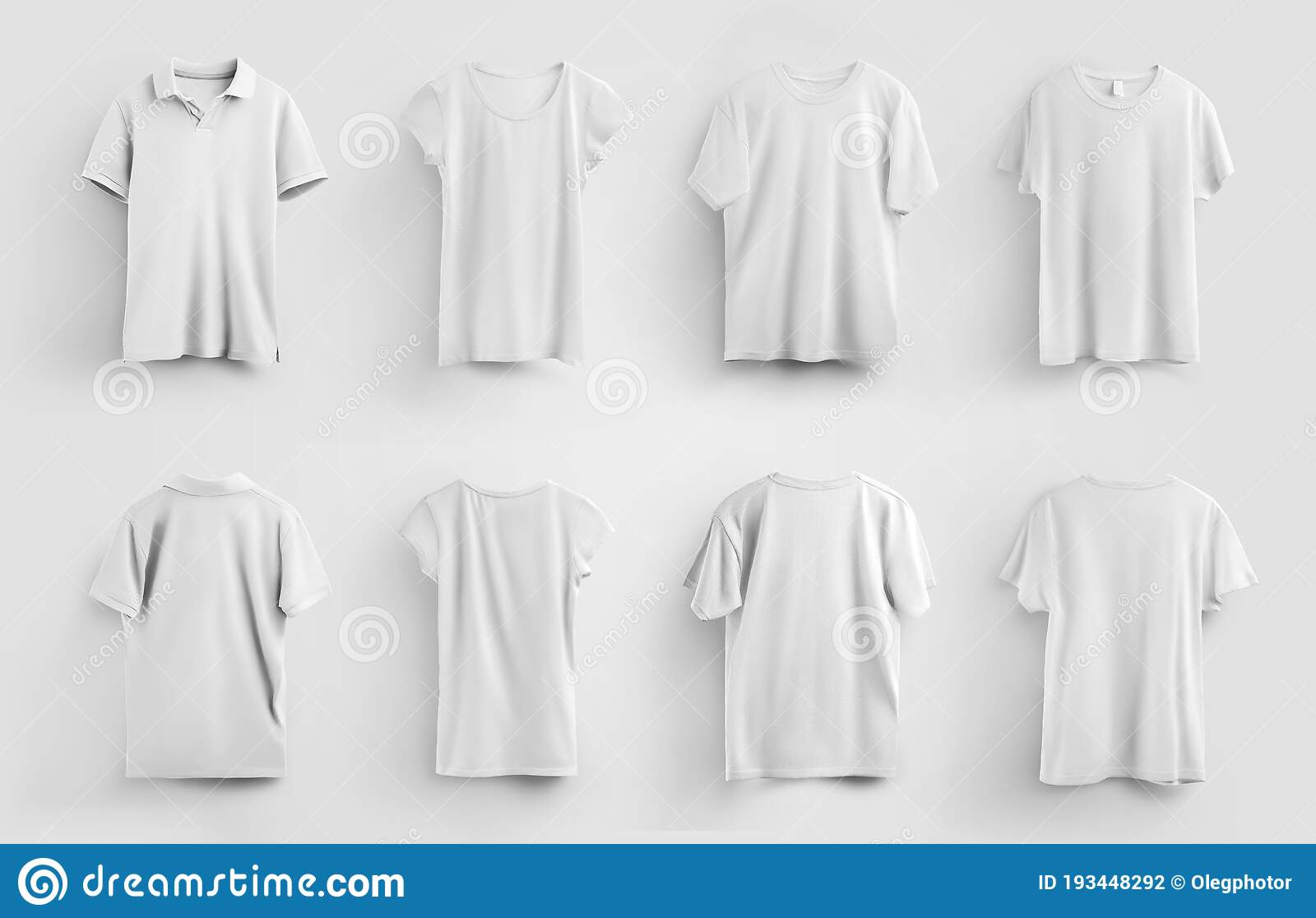 Set Of White Mens And Womens T-shirts And Polos Isolated On Background, For  Use In Advertising And Presentation Of Design, Pattern Stock Photo - Image  of presentation, closeup: 193448292
