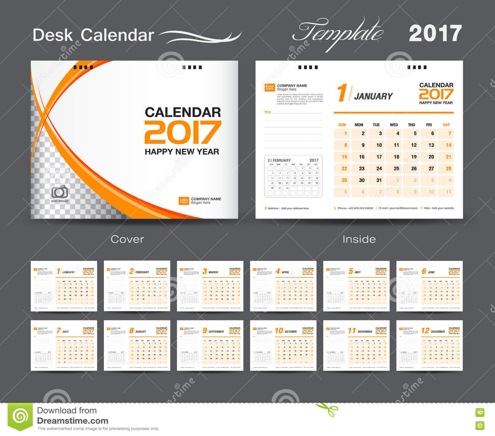 Calendar Typography Template : Set white and orange desk calendar template design