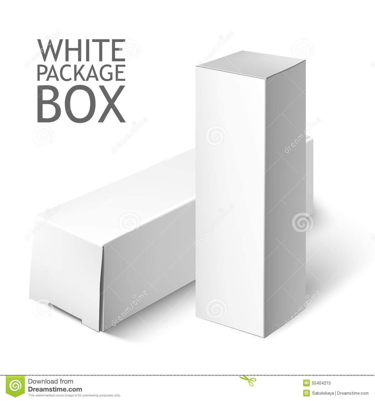 Set Of White Package Box. Mockup Template Stock Vector - Image ...