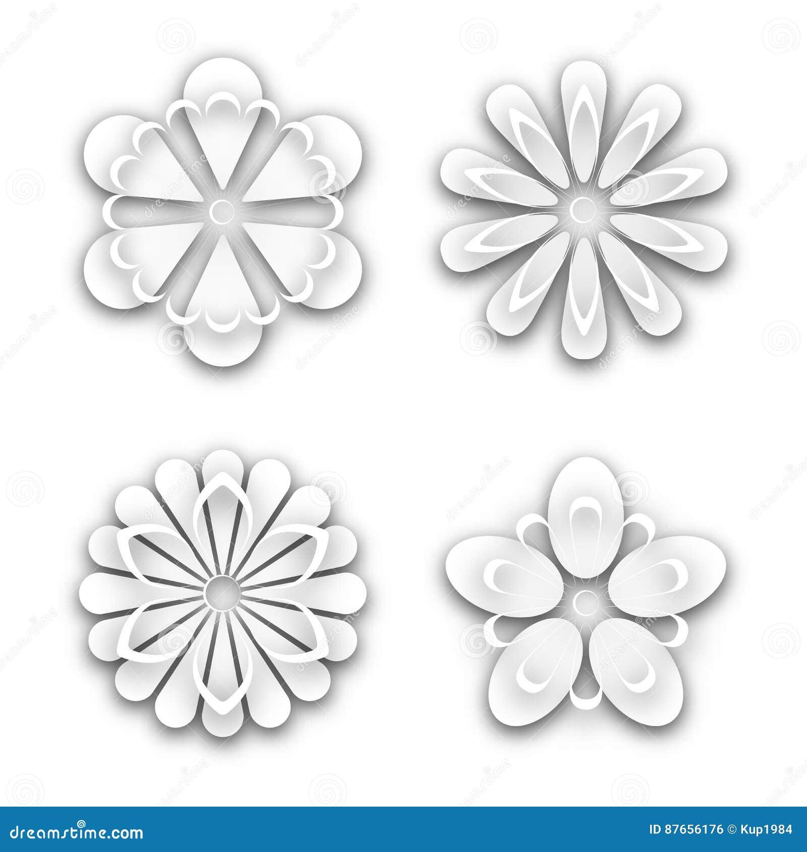 Set Of White Paper Flower Buds Vector Illustration Stock Vector