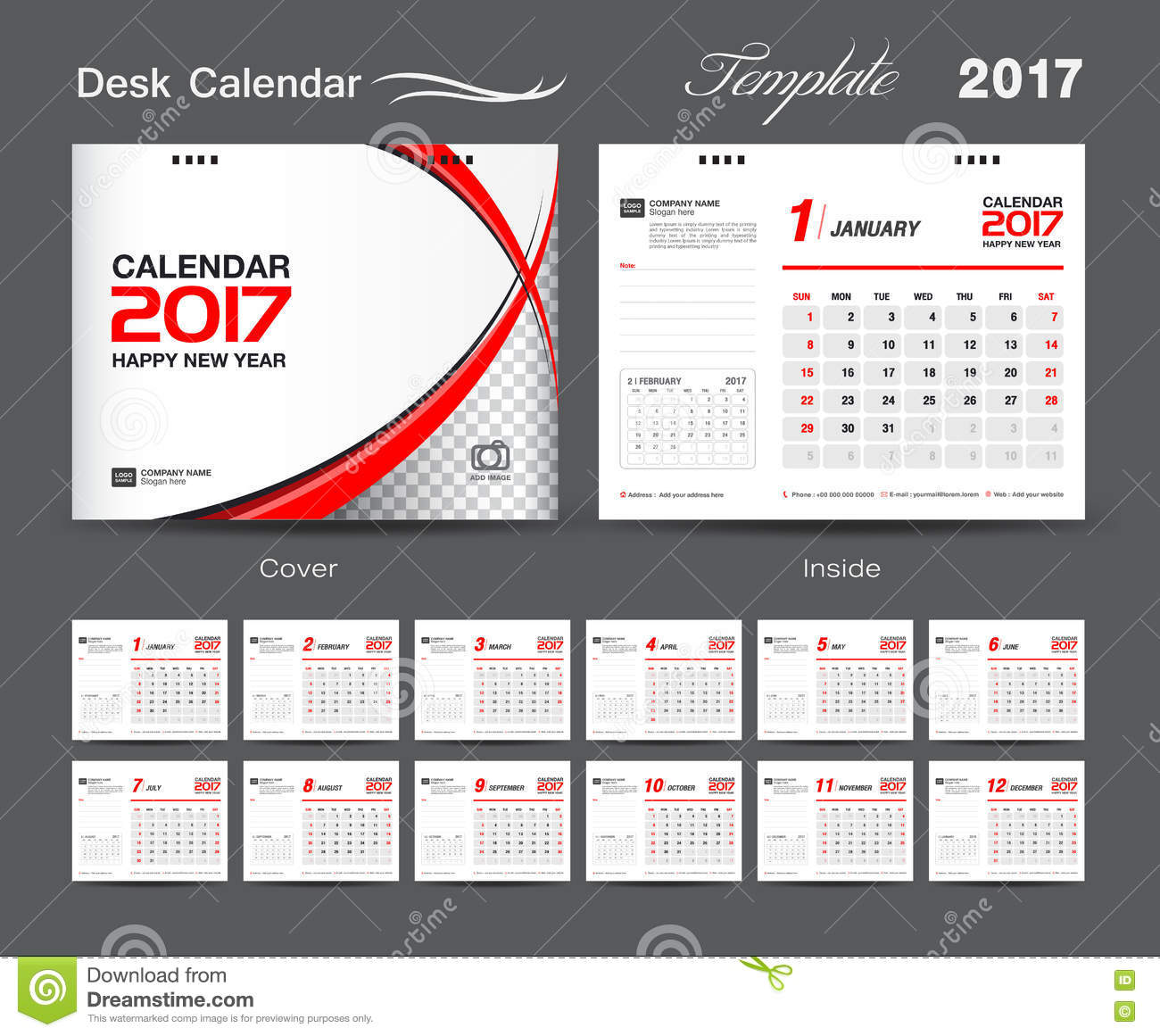 Business Calendar Design : Set white and red desk calendar template design