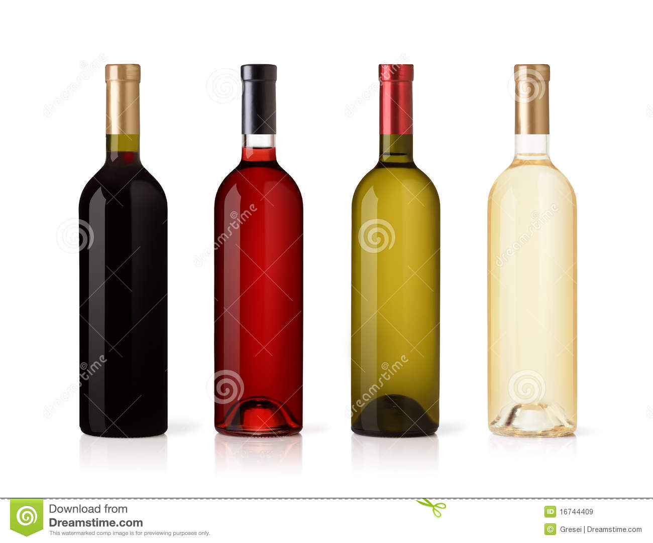 Set of white, rose, and red wine bottles.