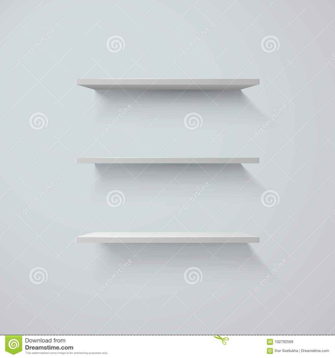 Set of white shelfs on a wall. vector illustration