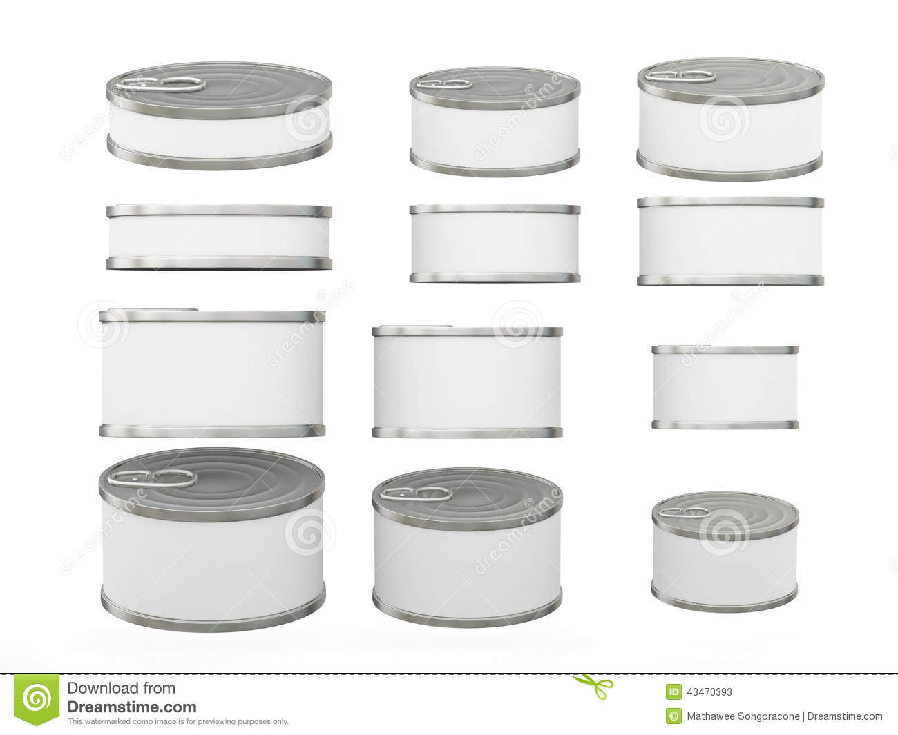 Set Of White Short Cylindrical Tin Cans In Various Sizes