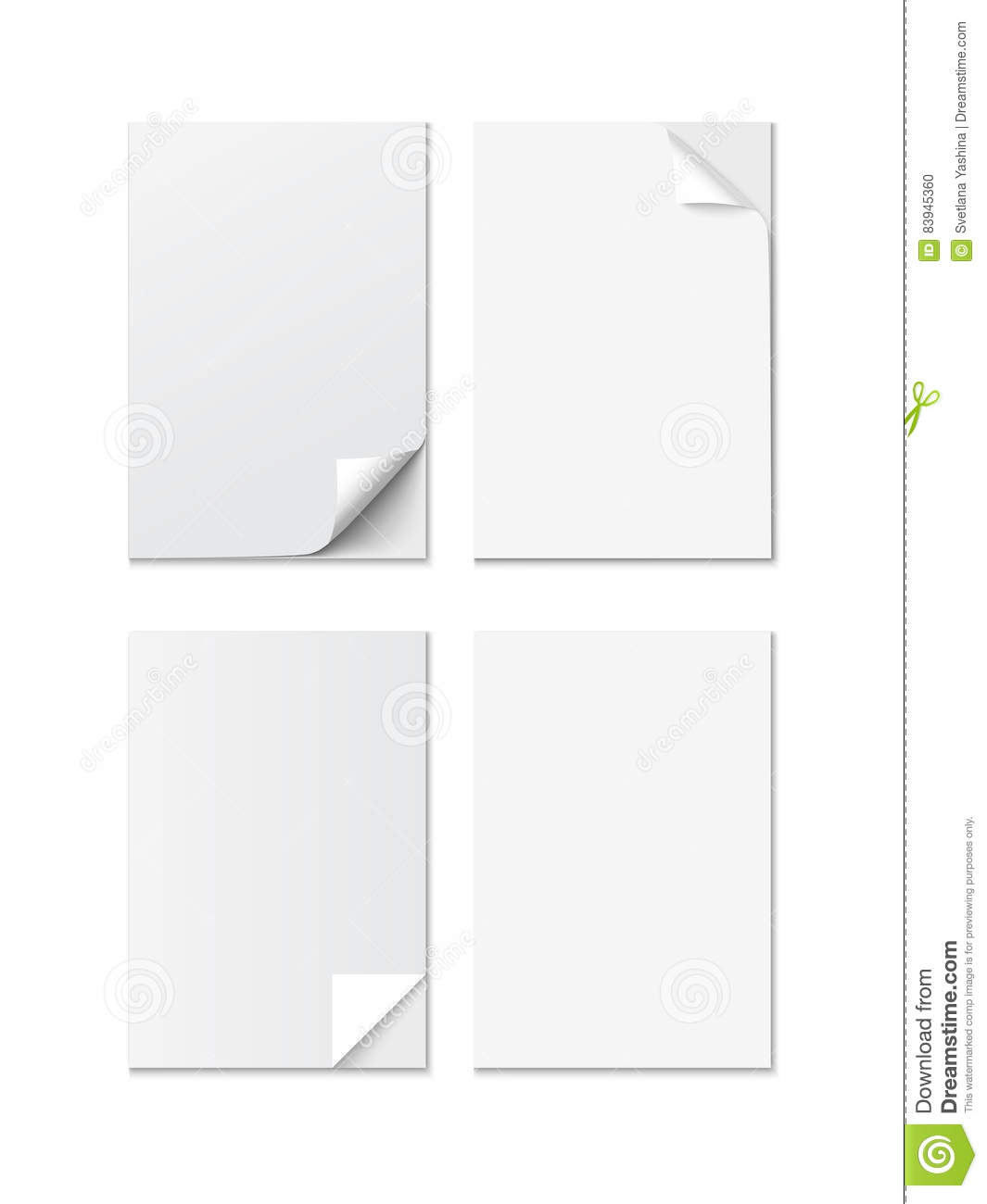 Set of white a4 size paper sheet with different curled for Microsoft office portfolio template