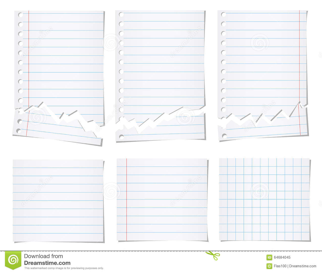 set of white torn notebook paper with blue lines stock vector