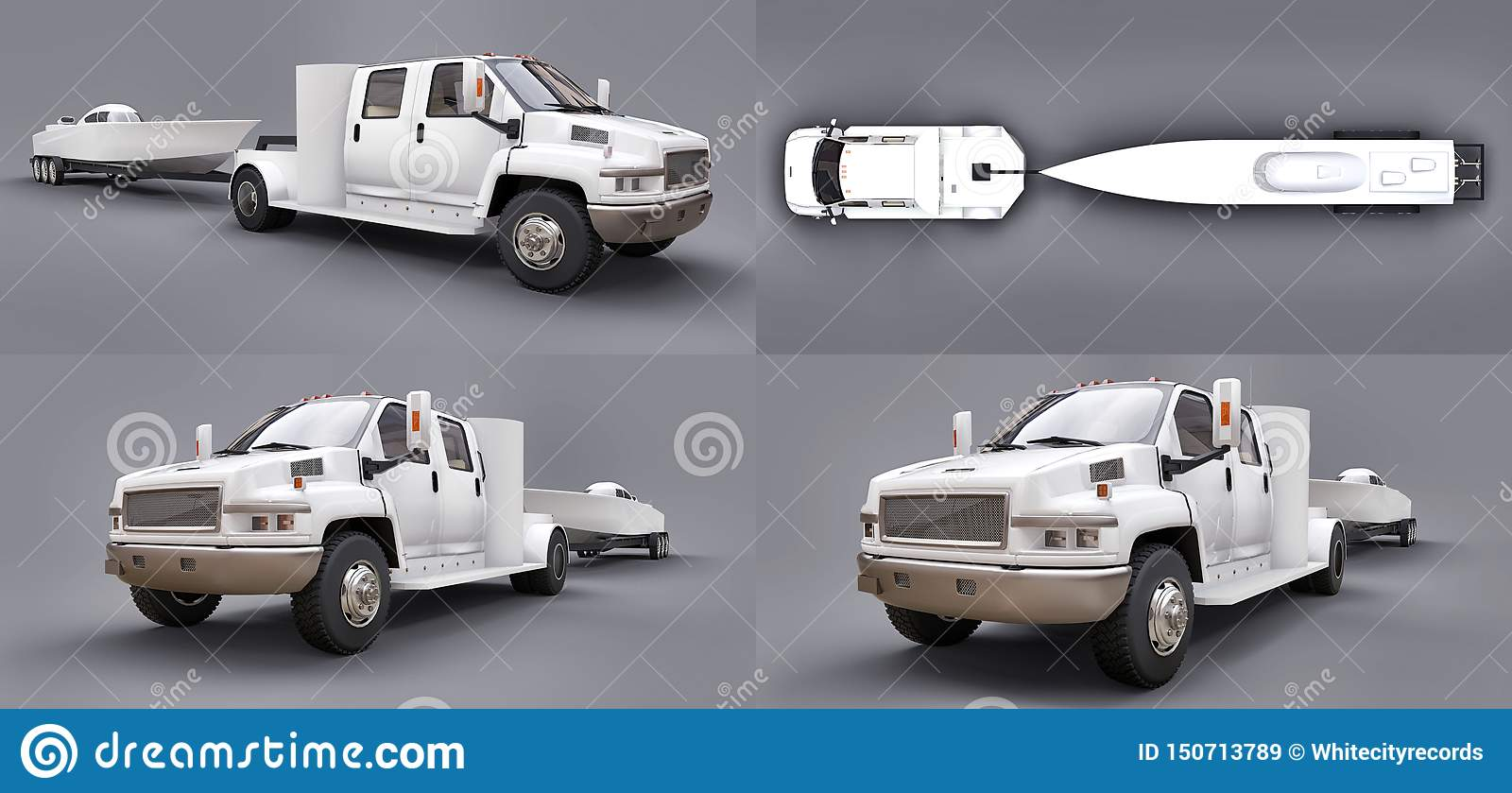 Set white truck with a trailer for transporting a racing boat on a grey background. 3d rendering.