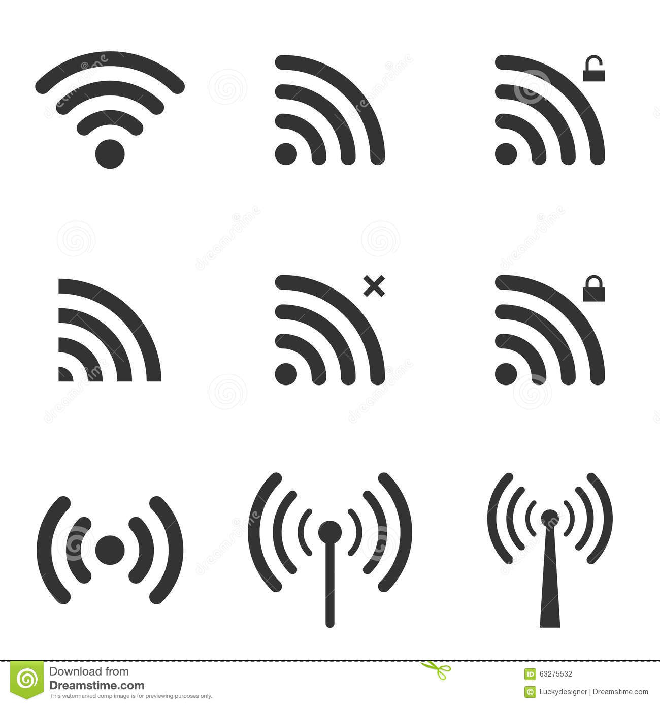 set of wi-fi and wireless icons  wifi zone sign  remote access a stock vector