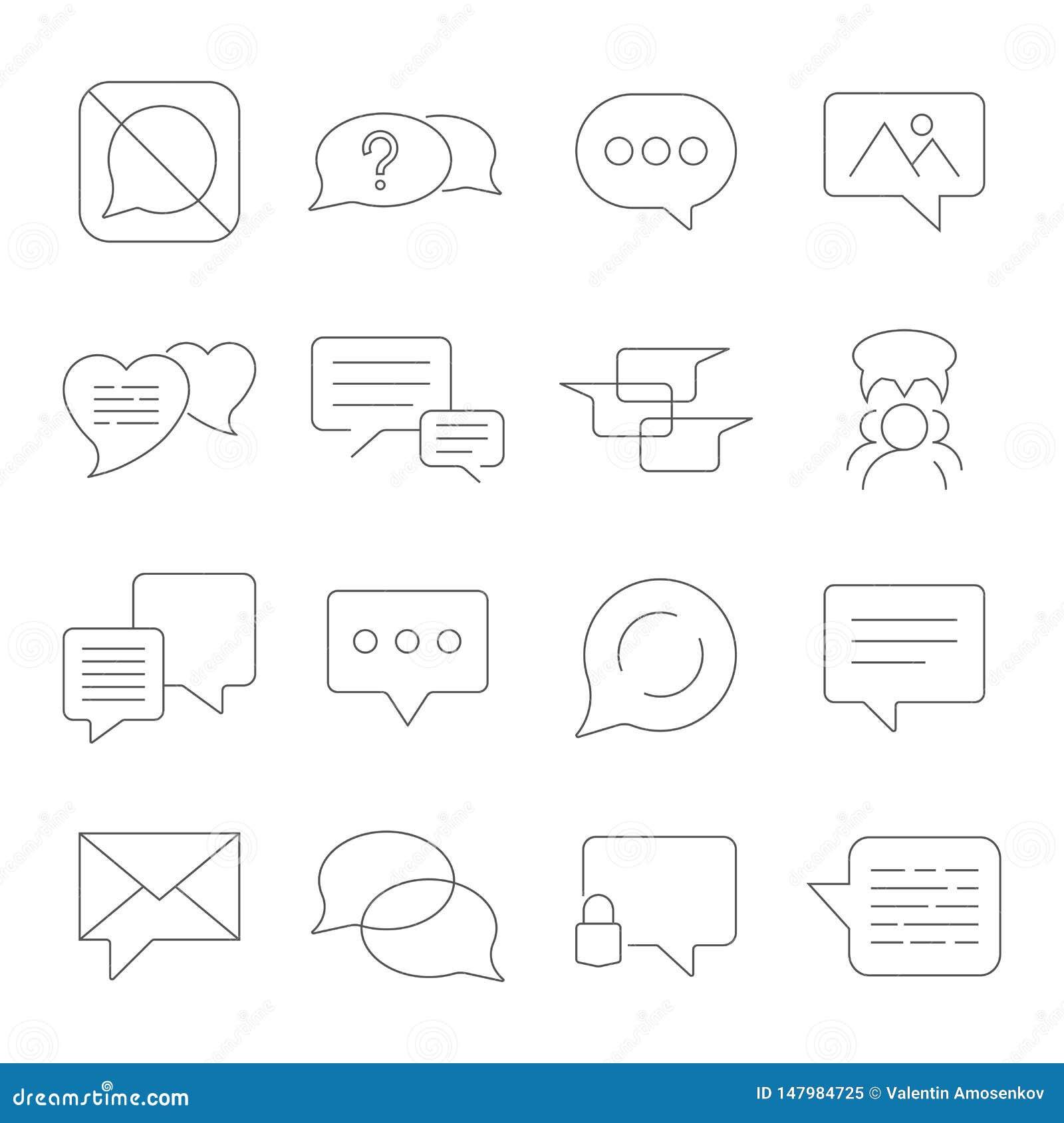 Set wiadomo?? wektoru linii ikony Zawiera taki ikony jak rozmow?, SMS, serce, mi?o?? gadki, powiadomienie, grupy gadka