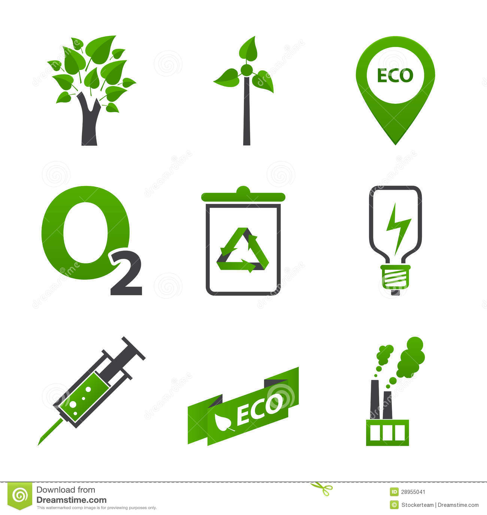 Set wiele ekologii ikony