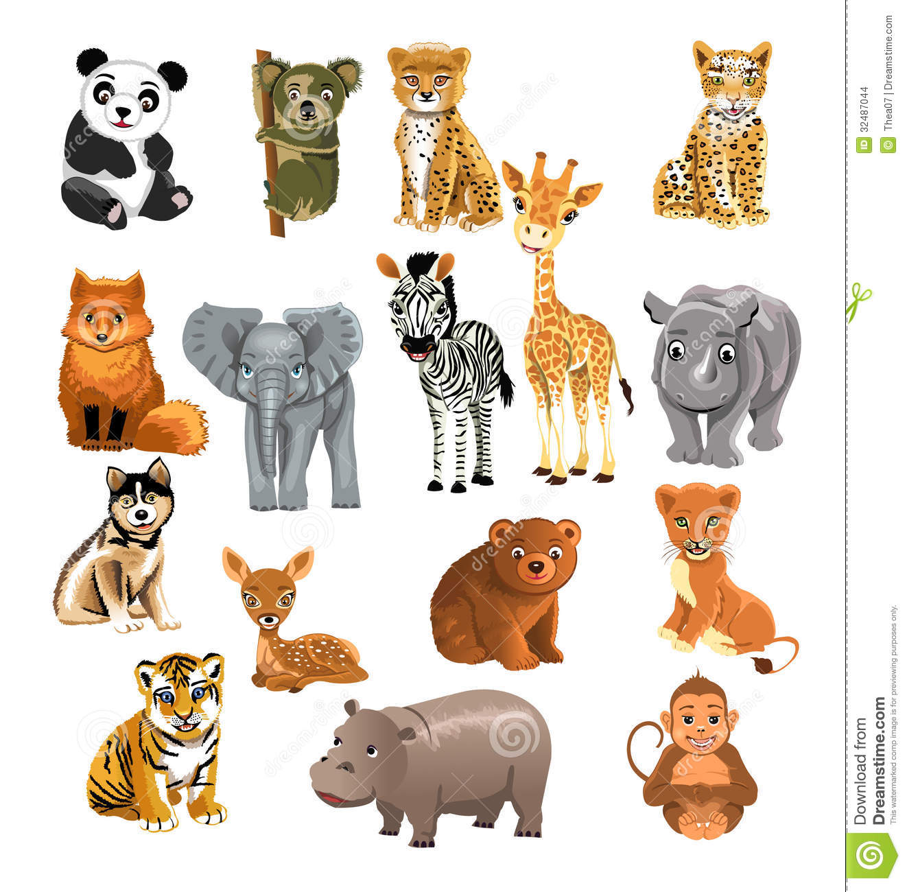 Set of wild animals stock vector. Illustration of cheetah ...