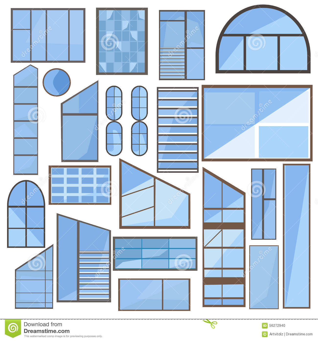Set window glass frame stock vector image of design for Window design clipart