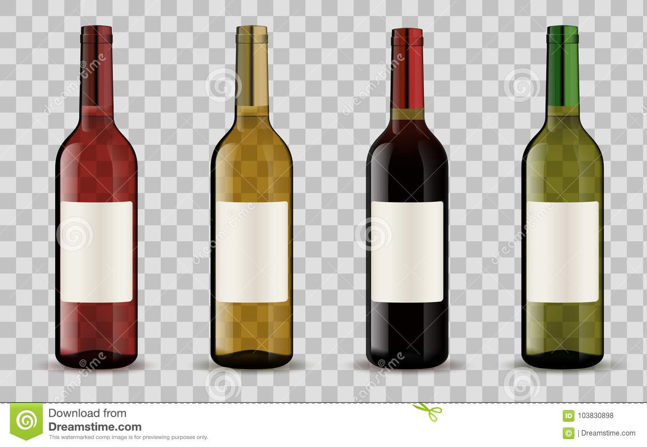 set of wine bottles isolated on transparent background stock vector