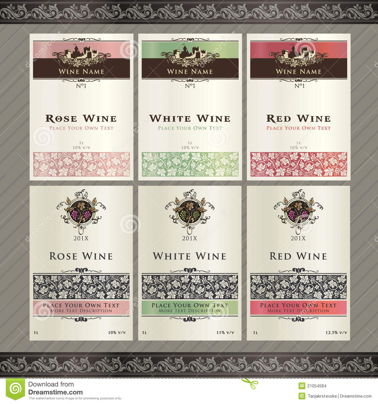 Set of wine label templates stock images image 21054584 for Z label templates