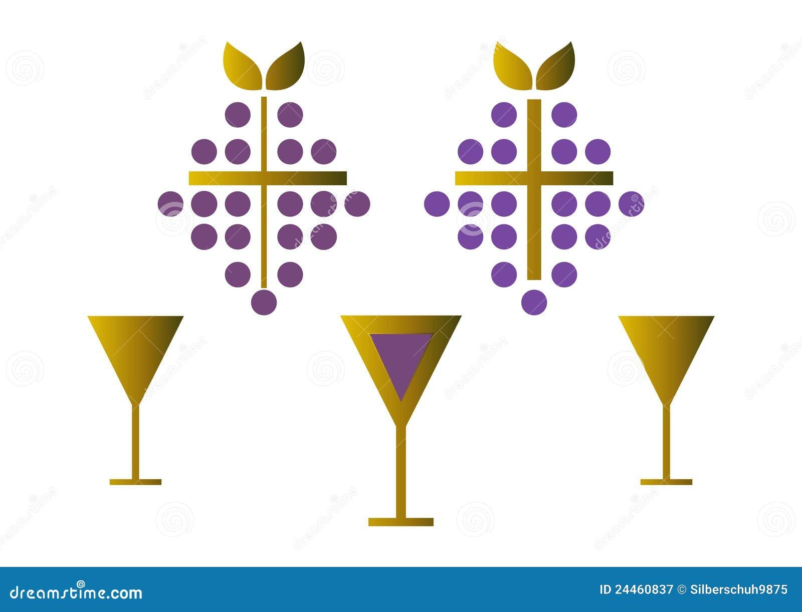 Set of wine symbols gold stock vector illustration of christian set of wine symbols gold biocorpaavc Gallery