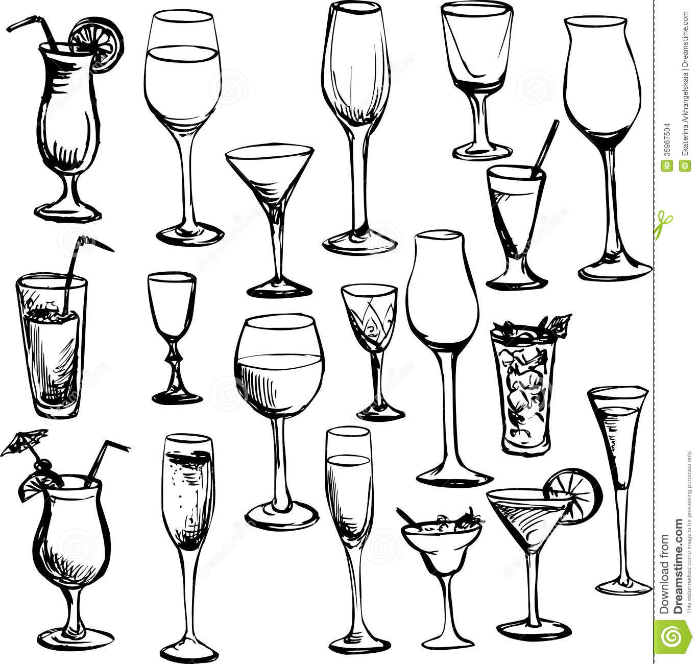 Set of ink drawing wineglass, vector illustration.