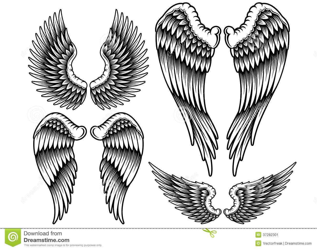 Fully editable vector illustration set of wings on isolated white ...