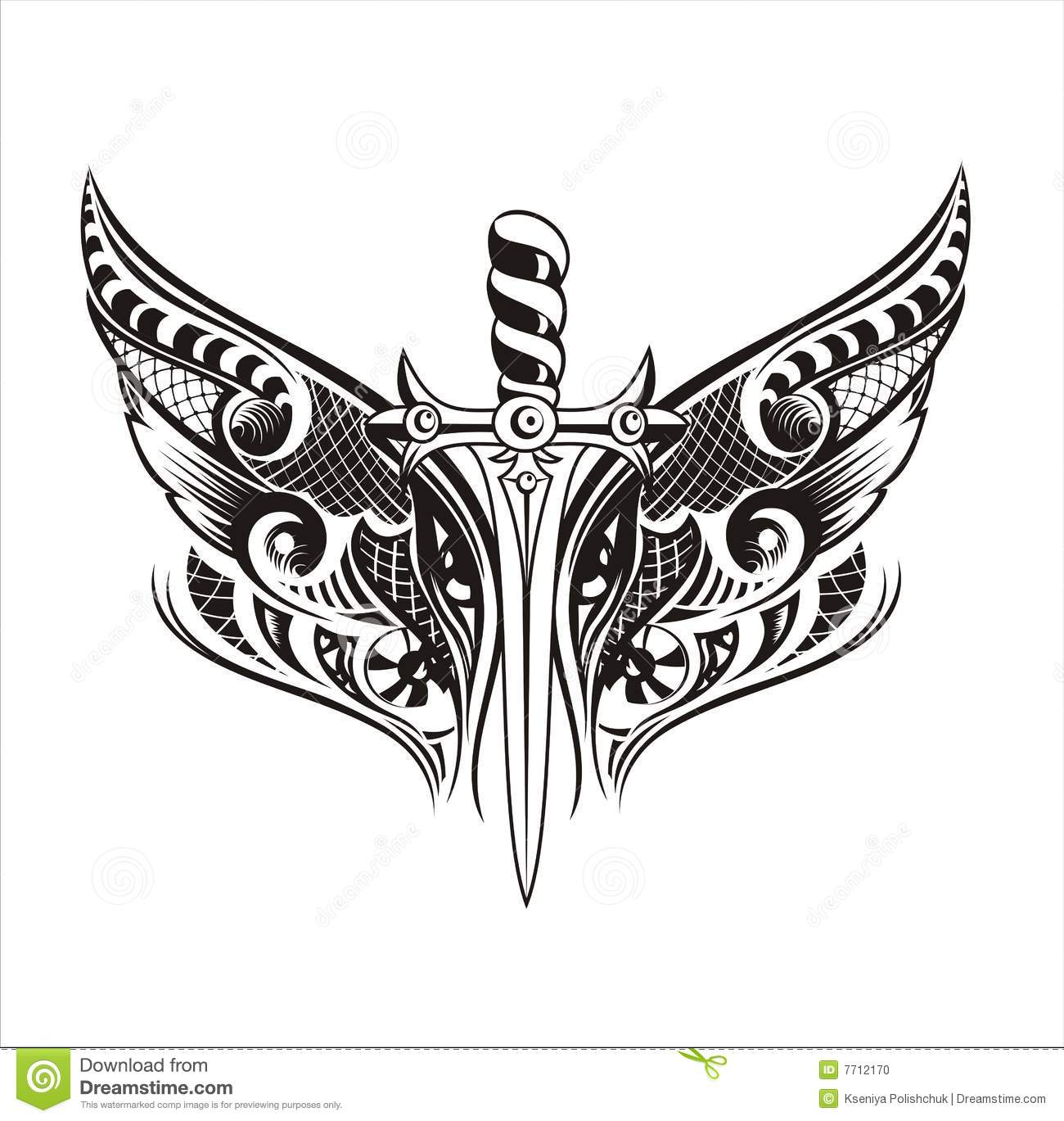 Set Wings And Sword Tattoo Design Stock Vector