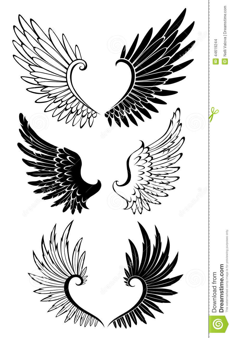 set of wings for tattoo stock vector