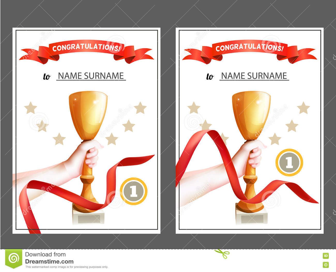 set of winner certificate with trophy cup and red ribbon
