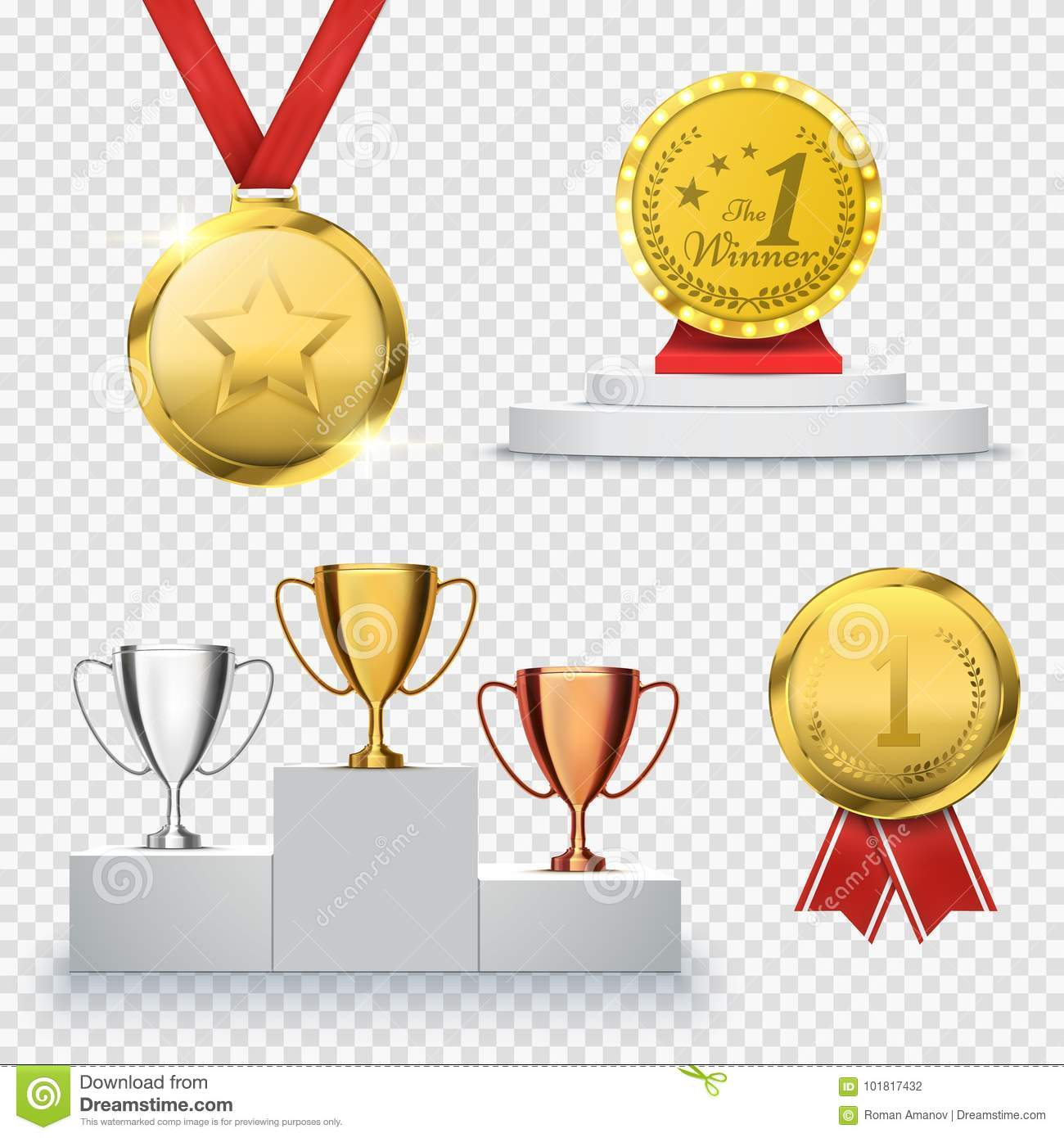 set of winner trophy prize template medal and podium vector stock