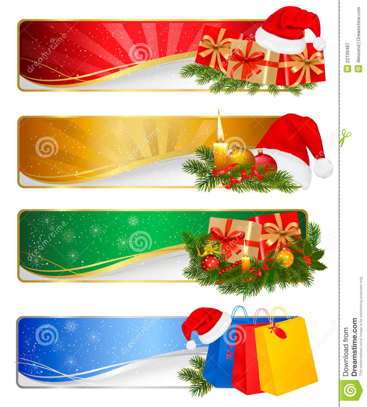 Set of winter christmas banners. Vector