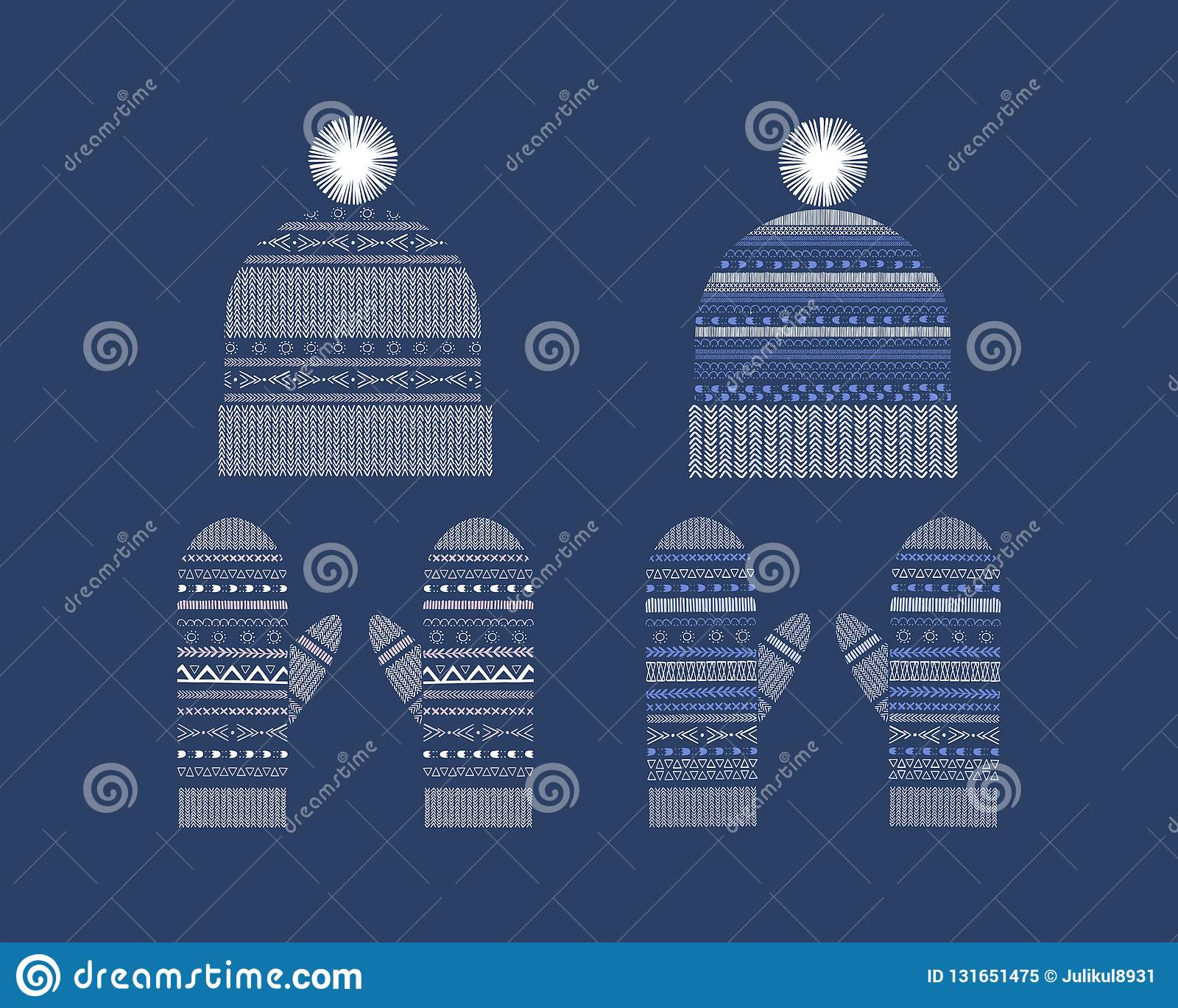 142f4fd91fc8 Set Of Winter Clothes  Hand-drawn Knitted Hats And Mittens. Stock ...