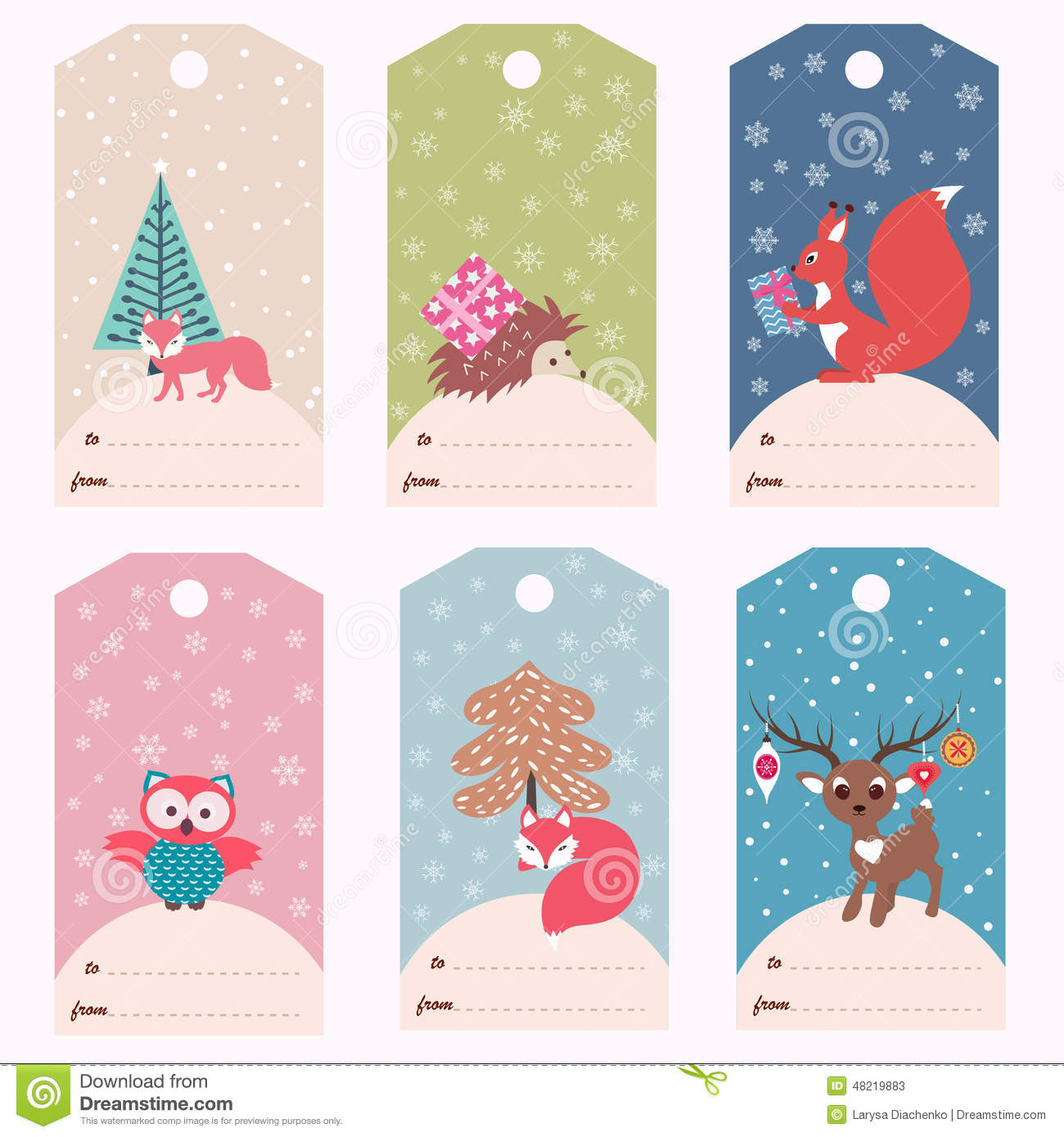 Stock Illustration Set Winter Gift Tags Vector Templates Christmas Image48219883 on Name Tag Template With Animals 9