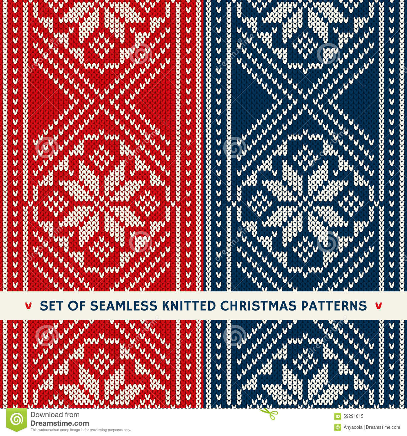 Set of 2 winter holiday seamless knitting patterns christmas an set of 2 winter holiday seamless knitting patterns christmas an bankloansurffo Images