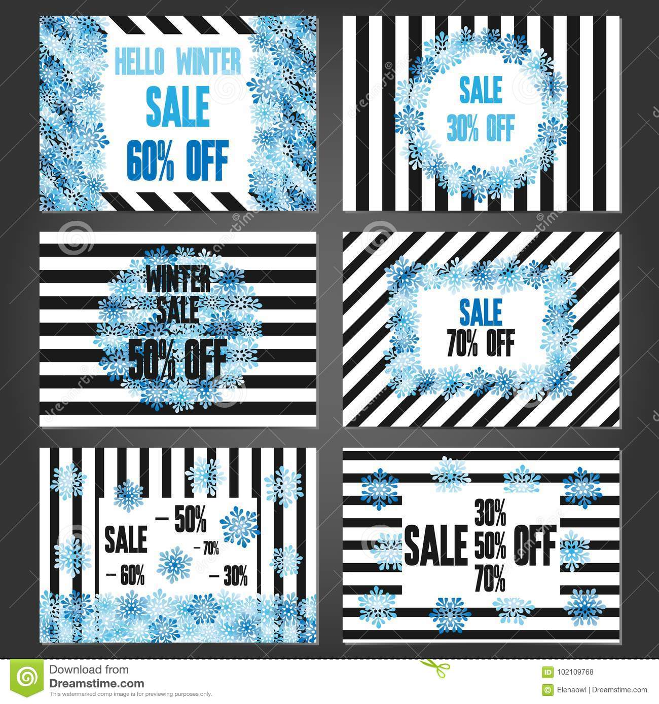set of winter sale banners and promotional flyer templates stock