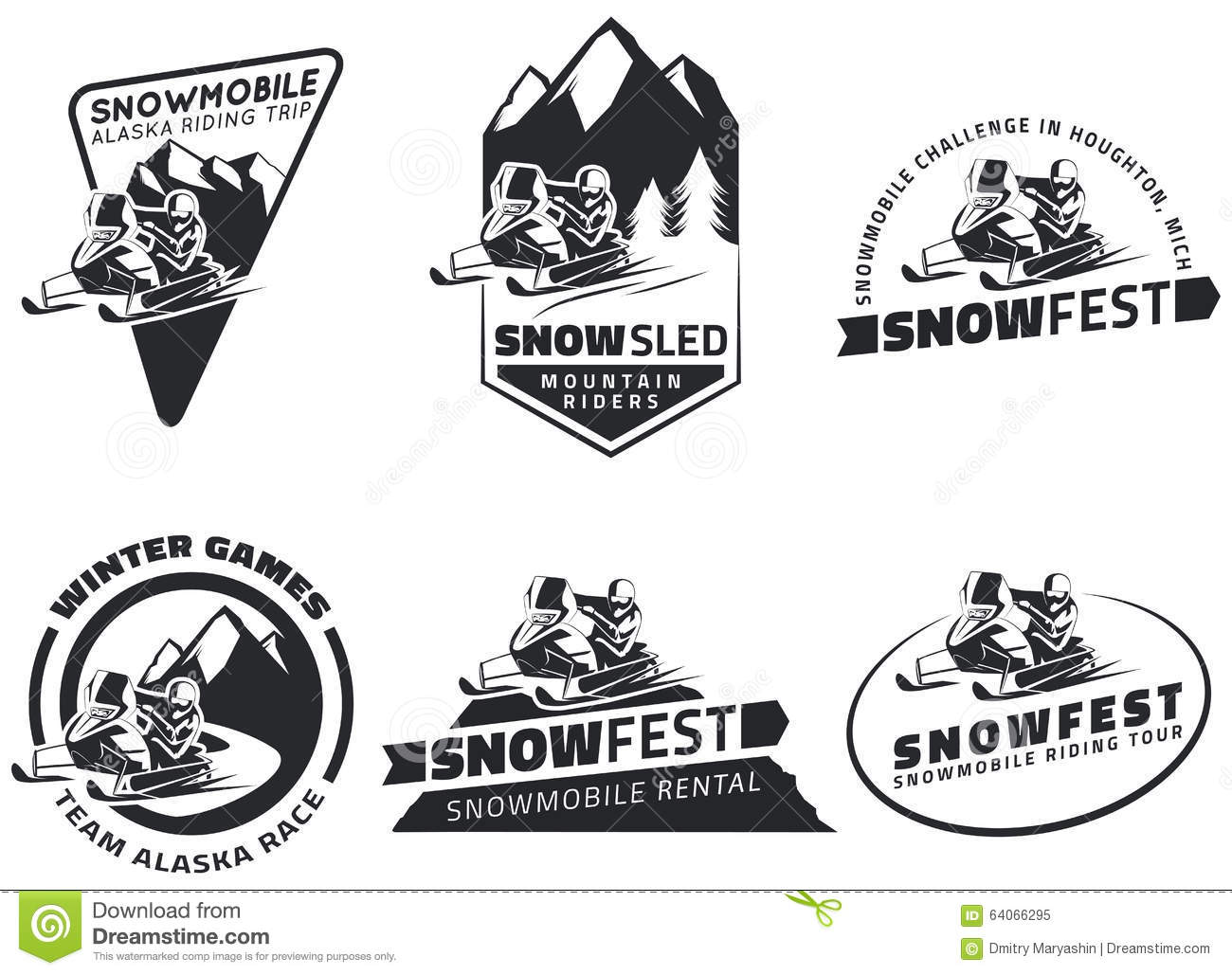 Set Of Winter Snowmobile Emblems, Badges And Icons. Stock ...