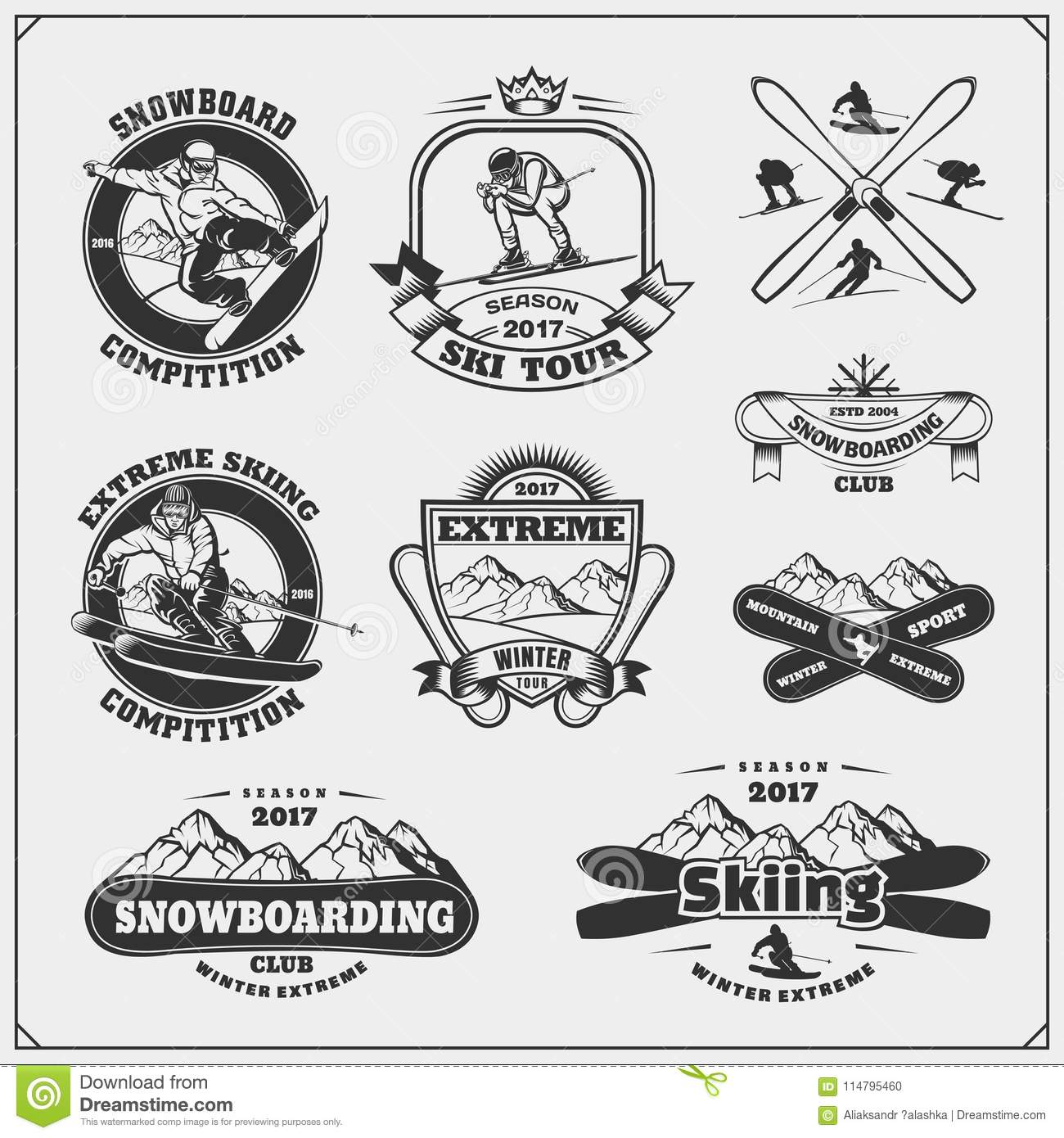 Set of winter sports emblems, labels, badges and design elements. Snowboarding, extreme skiing, downhill.