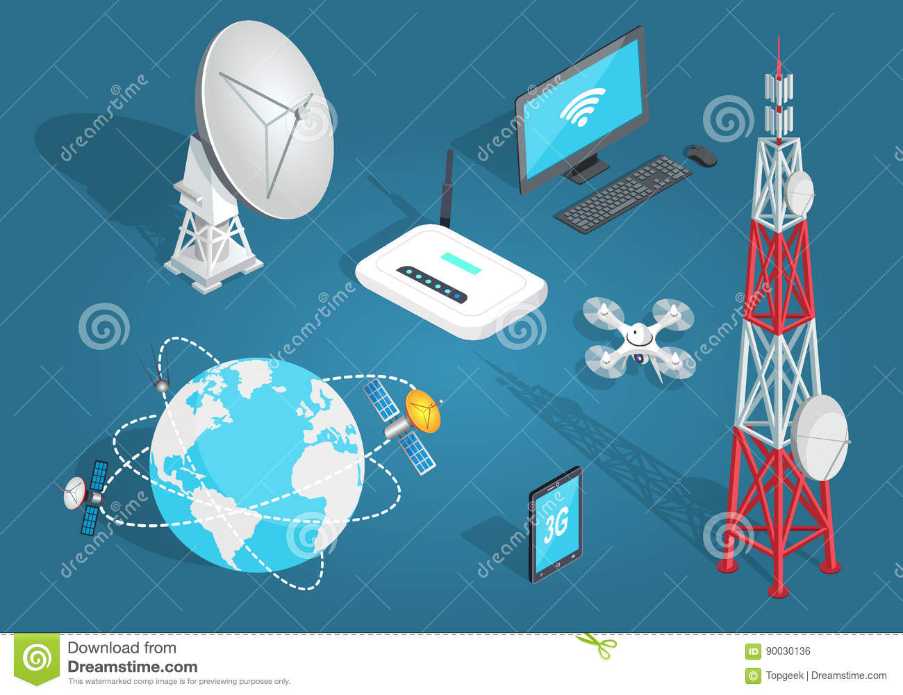 Download Set Of Wireless Connection In Flat Cartoon Style Stock Vector -  Illustration of local,