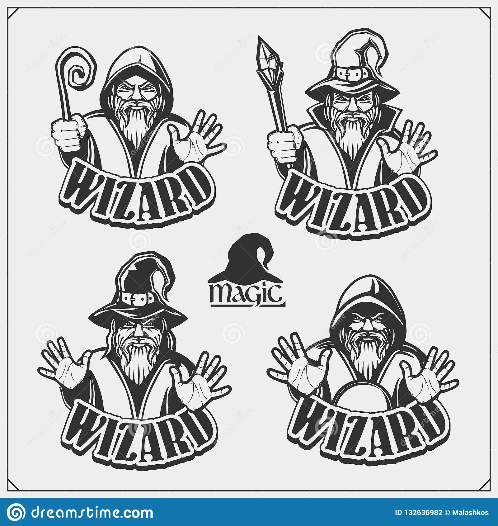 Set of wizard or magician emblems, labels and design elements.  Illustrations of sorcerer with