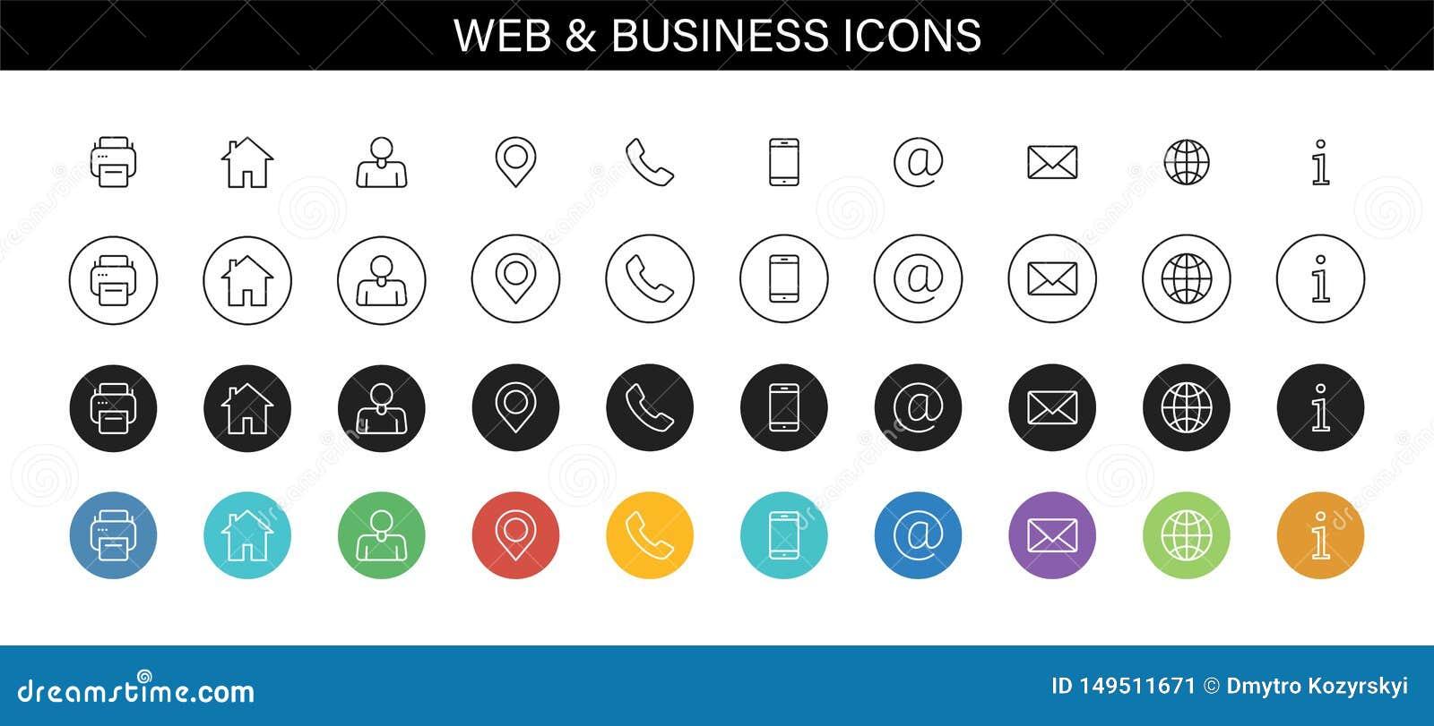 Set wizytówek ikony Imię, telefon, wisząca ozdoba, lokacja, miejsce, poczta, faks, sieć Kontaktuje się my, informacja, komunikacj