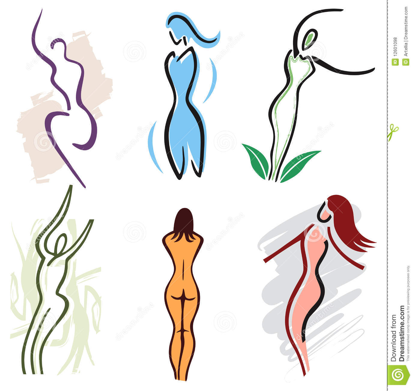 Set Woman Body Icons Nature Sports And Fitness Vector Illustration Stock Vector Illustration Of Exercise Body 12601098