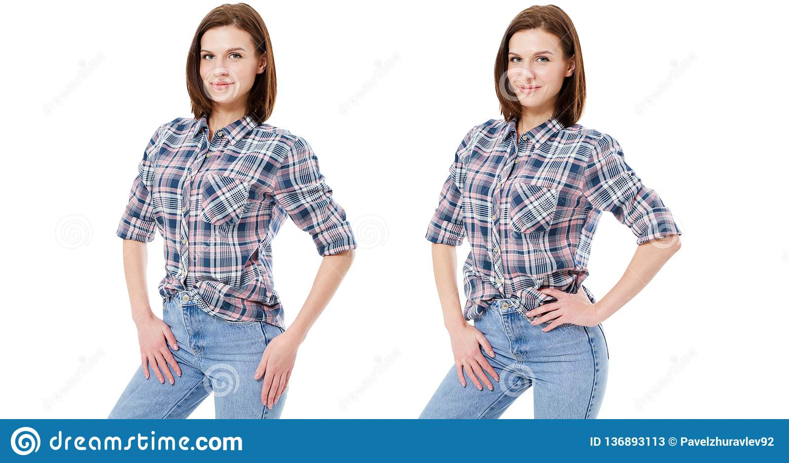 Set woman in casual clothes isolated on white background, collage
